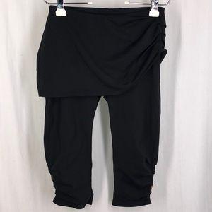 LUCY M Black Skirted Ruched Capri Leggings Skirt